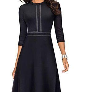 HOMEYEE Chic Crew Neck 3/4 Sleeve Black Dress